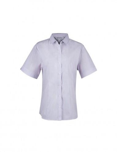 AU-2906S - Ladies Bayview Wide Stripe Short Sleeve Shirt - Aussie Pacific