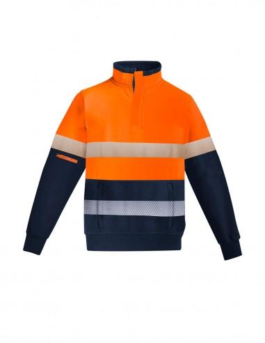 SY-ZT150 - Mens Orange Flame HRC 2 Hoop Taped 1/4 Zip Brushed Fleece - Syzmik