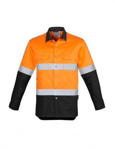 SY-ZW123 - Mens Hi Vis Spliced Industrial L/S Shirt - Hoop Taped - Syzmik