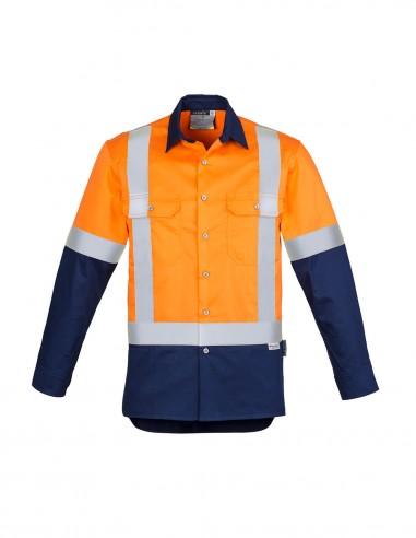 SY-ZW124 - Mens Hi Vis Spliced Industrial L/S Shirt - Shoulder Taped - Syzmik