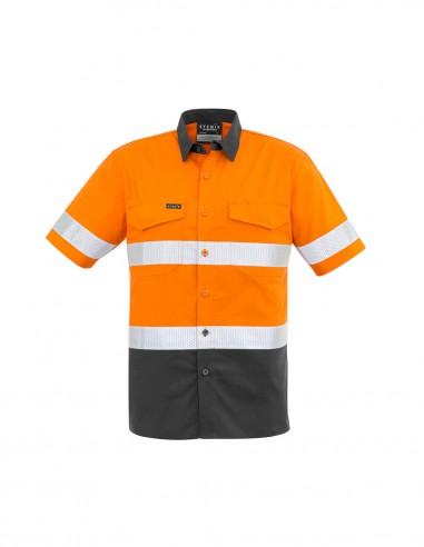 SY-ZW835 - Mens Rugged Cooling Taped Hi Vis Spliced S/S Shirt - Syzmik