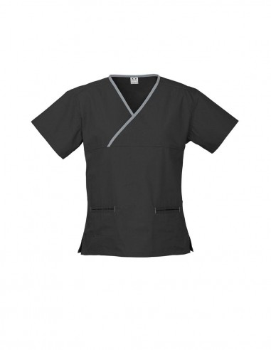 BCA-H10722 - Womens Contrast Crossover Scrub Top - Biz Care