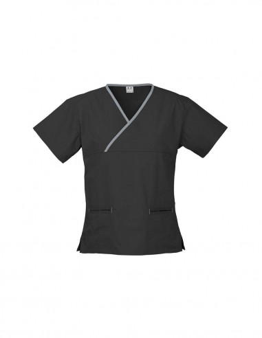 BC-H10722 - Contrast Ladies Crossover Scrubs Top - Biz Collection