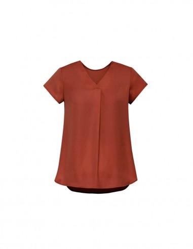 BCO-RB967LS - Womens Kayla V-neck Pleat Blouse - Biz Corporates